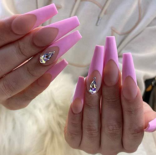 Brishow Sarg Künstliche Nägel Lange Falsche Nägel Rosa Kristall Ballerina Acryl Drücken Sie auf die Nägel Full Cover Stick auf die Nägel 24 Stück für Frauen und Mädchen