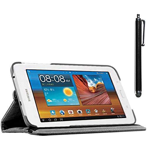 ebestStar - kompatibel mit Samsung Galaxy Tab 3 Lite 7.0 Hülle SM-T110, VE SM-T113 Rotierend Schutzhülle Etui, Schutz Hülle Ständer, Rotating Cover +Stift, Schwarz [Tab:193.4x116.4x9.7mm 7.0