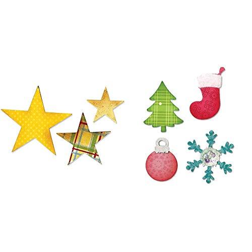 Sizzix Bigz Die Stars Fustelle a Stella & Allstar Fustella-Albero di Natale, Ornamenti