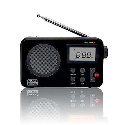 Radio NK- AB1904- FMBL/Am -  Radio Portátil de Sobremesa,  Pantalla LCD con Luz,  Antena,  Altavoz,  4 Pilas AA,  Cable DC5V,  Color Negro (Función Radio Despertador) #