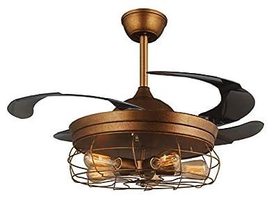 42'' Ceiling Fans Invisible Retractable Blades Farmhouse Industrial Pendant Lamp Chandelier Remote Control 5 Edison Bulbs (Antique Golden color) (Youtube video demo)