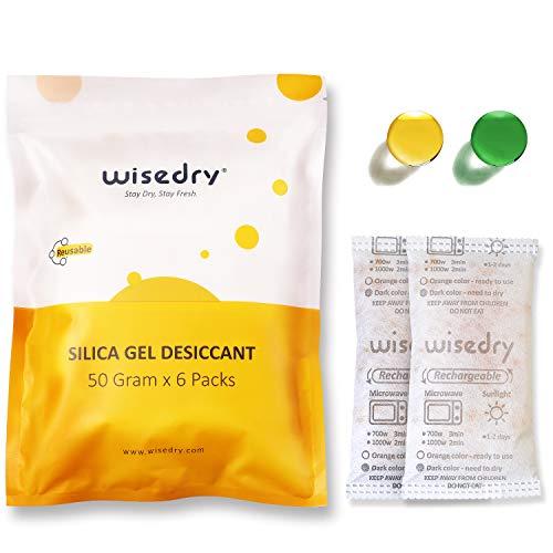 Wisedry 50 Gramm [6 PACKS] Silicagel Regenerierbar Beutel Kieselgel Trockenmittel mit Orangenperlen Feuchtigkeits indikator Luftentfeuchter zur Entfernung von Lufttrockner, Lebensmittelqualität