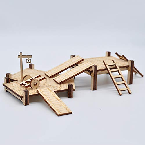 D&D Modular Bridge, Dock, Walkway Expansion Set 7PCS Wood Laser Cut Dungeon Terrain for Pathfinder, Dungeons & Dragons and Other Tabletop RPG