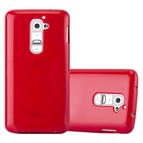 Cadorabo Custodia per LG G2 in JELLY ROSSO - Morbida Cover Protettiva Sottile di Silicone TPU con Bordo Protezione - Ultra Slim Case Antiurto Gel Back Bumper Guscio