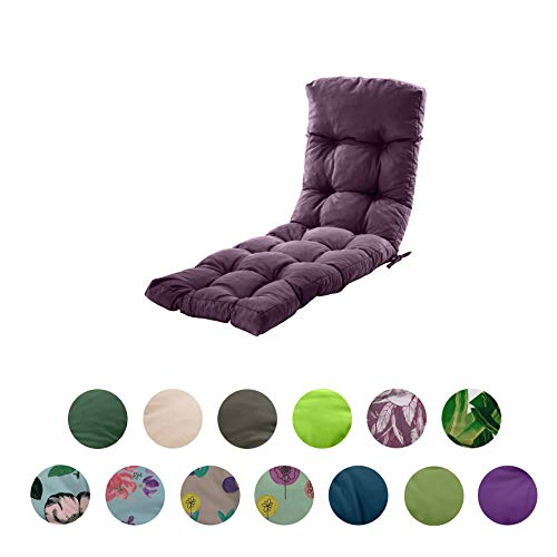 Gardenista Sun Lounger Cushion Pad | Water Resistant and Breathable Easy Clean Fabric | Soft and Comfy | Outdoor Garden Reclining Lounger Cushion | 200 x 60 x 7 cm (Purple)