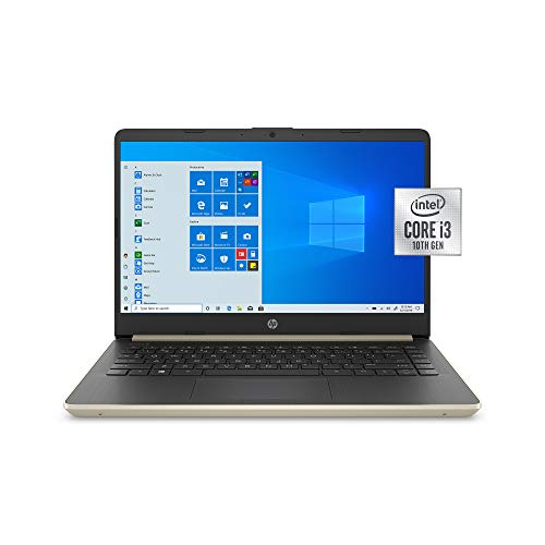 HP 14 Inch HD WLED-Backlight Business Laptop   Intel Core i3-1005G1   4GB DDR4 RAM   128GB SSD   WiFi   Bluetooth   HDMI   Windows 10 Home S   Gold   with Woov Accessory Bundle