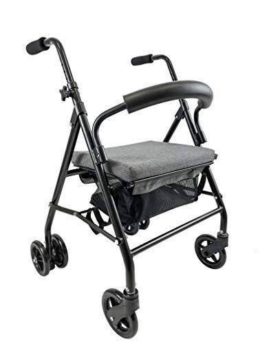 KMINA - Andador para ancianos, Andador plegable, Andadores para ancianos, Andadores adultos 4 ruedas, Andador para ancianos con asiento, Andador con frenos por presión, COMFORT Gris Freno Presión