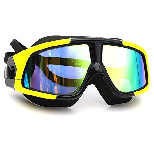 Gafas de natación Gafas de natación para hombres y mujeres profesionales anti niebla protección UV revestimiento impermeable ajustable deportes natación gafas negro amarillo