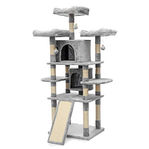 TOOCA Cat Tree for Large Cats 67 Inches Kitty Tower with Scratching Posts, Perch, Condo, Plate Ladder, Toy Ball, Grey