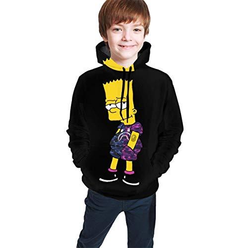 Henrnt Bart Simp-Son Logo Divertido y Guapo Adolescente Sudadera Chaqueta Negro Cómodo Clásico Niño y Niña Unisex Bebé