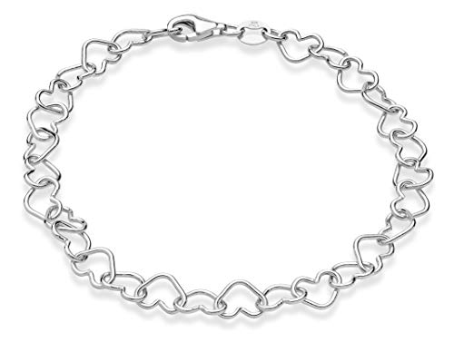 Miabella Sterling Silver Italian 5mm Rolo Heart Link Chain Bracelet for Women Teen Girls 6.5, 7, 7.5, 8 Inch Made in Italy (6.5 Inches (extra small))