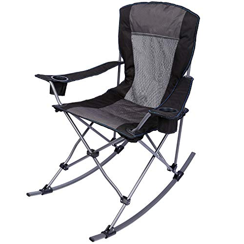 REDCAMP Folding Rocking Chairs Outdoor Heavy Duty, Comfortable High Back Zero Gravity Patio Lawn Chair, Portable for Outside Camping Fishing Poolside, Black with Mesh Back