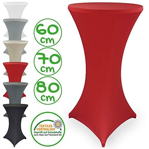 DILUMA Stehtischhusse Stretch Elastique Ø 60-65 cm Rot - elastische Premium Stretchhusse für gängige Bistrotische und Stehtische - dehnbarer Tischüberzug