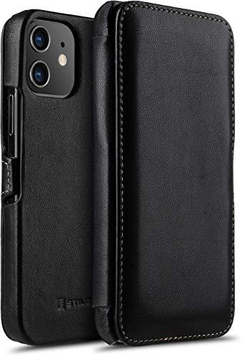 "StilGut Book Hülle kompatibel mit iPhone 12/12 Pro (6.1"") Hülle aus Leder mit Clip-Verschluss, Klapphülle, Handyhülle, Lederhülle - Schwarz Nappa"