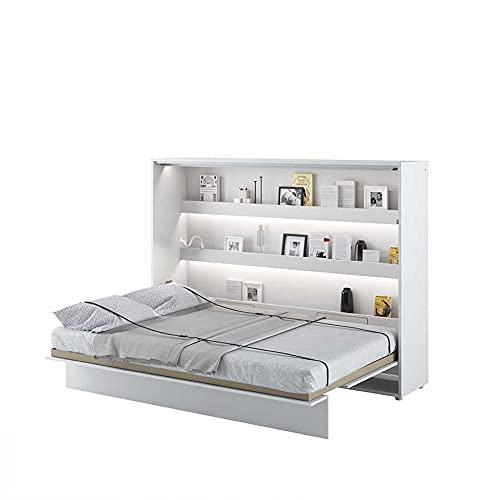 Cama plegable Bed Concept horizontal, 140 x 200 cm, color blanco lacado