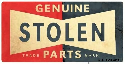 A.G.Holmes 2pcs Genuine Stolen Parts #4 Oldschool hot Rod Rat Piss Gangster Youngster Mob Rockabilly 1950s Round Bumper Sticker Decal (4 Inch) Decal Sticker of Street Sign Design