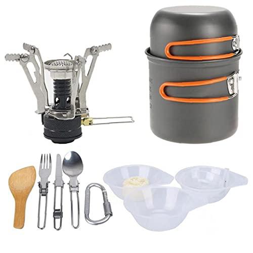 Utensilios De Cocina De Camping Cuenco Pan Pot Vajilla Gas Cocción Combinada De Cocina Aire Libre Cocina De Gas Portátil con Mochila