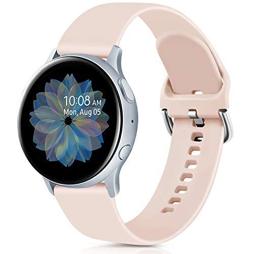 Oumida 20mm Correa Compatible con Samsung Galaxy Watch Active 40mm/Active2 40mm 44mm,Pulseras de Repuesto de Silicona Suave para Samsung Galaxy Watch 42mm/Watch 3 41mm/Gear Sport(S,Rosa Sand)