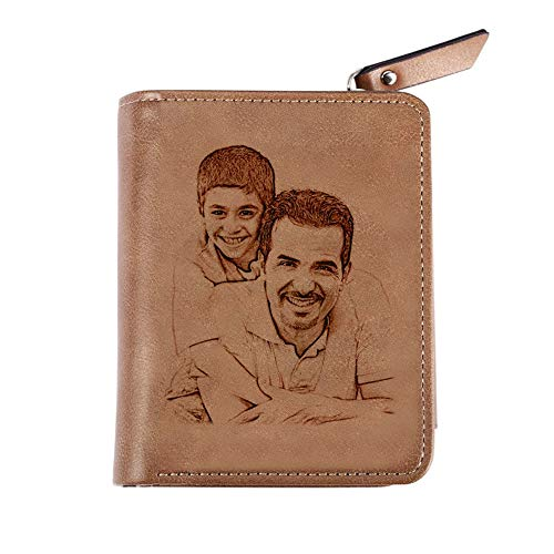 Personalized Photo Wallets for Men Custom Engraved Leather Wallet for Husband Dad Son Boyfriend Gift