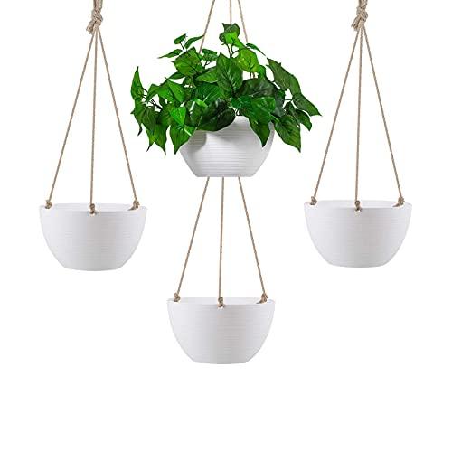 litulituhallo Maceta colgante de color blanco de 8,5 pulgadas para interiores y exteriores, macetas con drenaje, 4 piezas