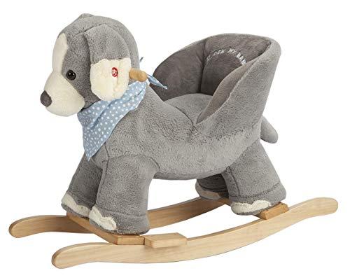ROCK MY BABY Plüsch Schaukeltier Hund, Schaukelpferd Holz, Kinder Schaukelstuhl, Schaukeltier Baby, Kinderschaukel Indoor, Baby Schaukel ab 1 Jahr, Schaukel Spielzeug für Babys und Kleinkinder
