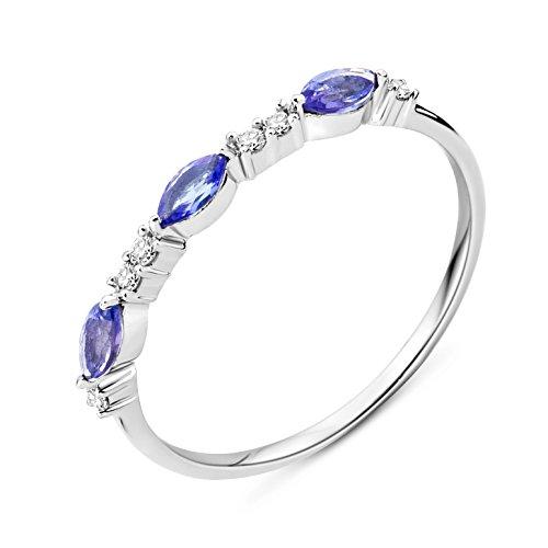 Miore Ring Damen Weißgold 9 Karat / 375 Gold Tansanit Diamant Brillianten 0.05 ct