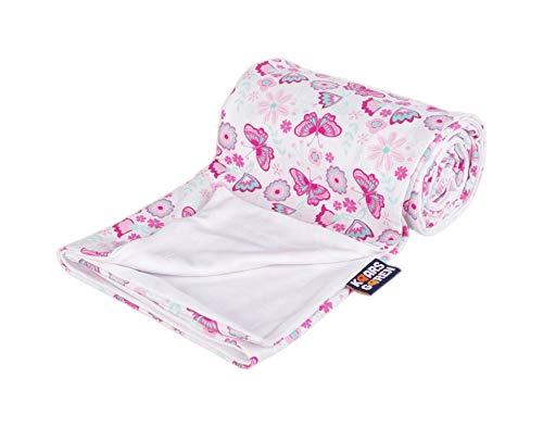 Kinderwagendecken für den Sommer, Babydecke, Kuscheldecke, Erstlingsdecke, Sommerdecke (Rosa Schmetterling, 70 x 100 cm)