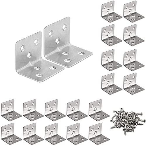 20 pièces de supports en acier inoxydable supports d'angle en acier inoxydable de 30 * 37 * 1,5 mm avec 120 vis utilisés pour fixer les tables,chaises, fenêtres, armoires etmeubles