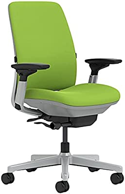 Steelcase Amia Chair with Platinum Base & Hard Floor Casters, Wasabi