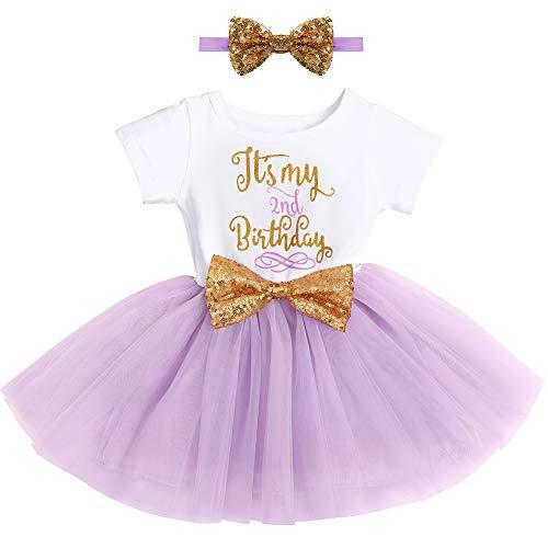 FYMNSI Baby Säugling Mädchen Es ist Mein 2. Geburtstag Party Kleid Outfit Kurzarm Tütü Tüll Prinzessin Geburtstagskleid mit Pailletten Schleife Stirnband Fotoshooting Babykleidung Set Violett