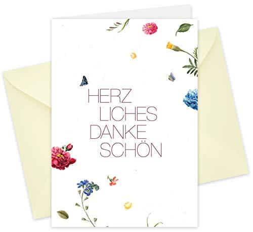 20 Karten & 20 Umschläge: Klappkarten Dankeskarten – Blüten – DIN A6 im Set, Danke sagen mit Danksagungskarten nach Hochzeit, Geburt, Baby, Taufe, Geburtstag, Konfirmation, Kommunion, Jubiläum