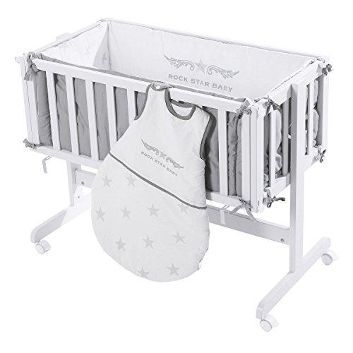 roba Beistellbett 'Room & Craddle', Anstellbett ans Elternbett & Stubenbett, Holz weiß, inkl. Ausstattung Kollektion 'Rock Star Baby 3'