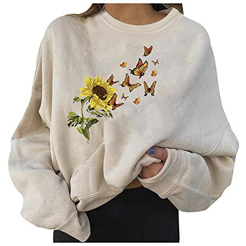 Damen Halloween Sweatshirt Pullover Kürbis Bedruckt Oberteil Crewneck Langarmshirt Herbst Vintage Sweatshirts Loose Tunika Top(Weiß-9,X-Large)