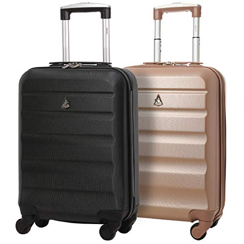 Set of 2 Aerolite 55cm ABS Hard Shell Carry On Hand Cabin Luggage...
