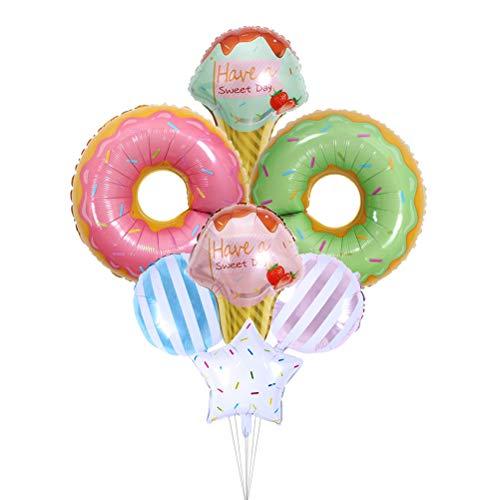 STOBOK Globos de aluminio Mylar, 7 unidades, globos de aluminio para decoración de globos para cumpleaños Baby Shower (caramelos con forma de rosquilla)