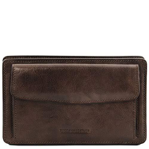 Tuscany Leather Denis Elegante Handgelenktasche/Herrentasche aus Leder Dunkelbraun