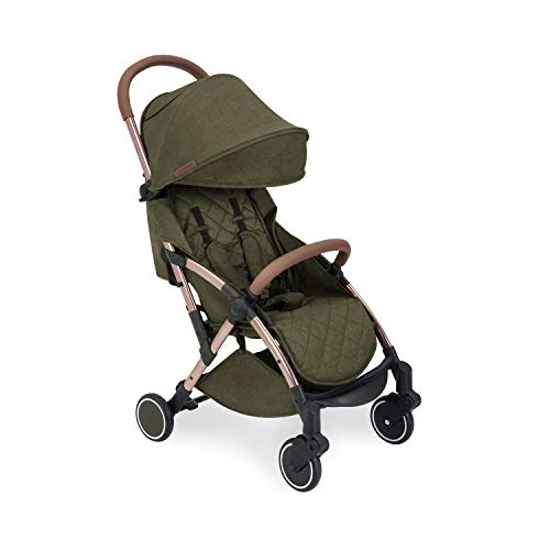 Ickle Bubba Globe Stroller   Ultra-Compact Travel Pushchair   from Birth to 3 Years   UPF 50 Hood, Rain Cover   Khaki on Rose Gold Frame