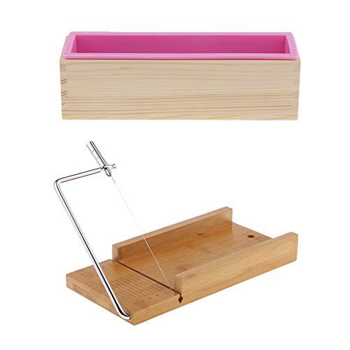 LoveinDIY Molde portátil e flexível de silicone para sabonete, 900 ml, com caixa de madeira, ferramentas de cortador de sabonete para arte, artesanato, sabão, fabricação de pão, utensílios de cozinha para casa