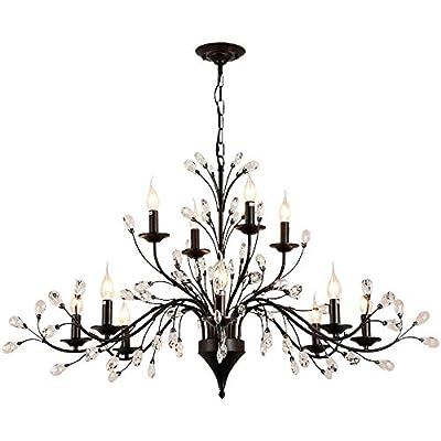 "HOMWEERUN LED E12 LED 3 Brightness Clear Crystal Matte Black Candle Chandelier Ceiling Lights Fixture Lamp Chandelier Pendant Lights Lighting with 12pcs 5W E12 LED Bulbs (8L+4L(D44"" x H24""))"
