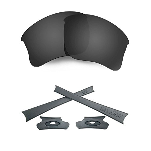 HKUCO For Oakley Flak Jacket XLJ Black Polarized Replacement Lenses And Grey Earsocks Rubber Kit