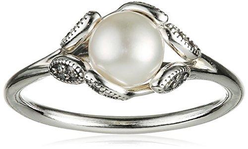 Pandora Damen-Ring Leuchtende Blätter 925 Silber Perle weiß Gr. 54 (17.2) - 190967P-54