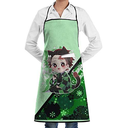 XCNGG Delantal de Cocina Kimetsu No Yaiba Tanjirou Vs Inosuke Cooking Apron with Pocket for Men Women