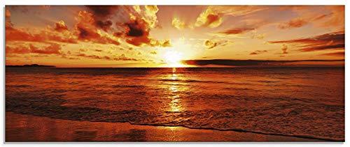 Artland Glasbilder Wandbild Glas Bild einteilig 125x50 cm Querformat Strand Meer Küste Nordsee Sonnenuntergang Natur Landschaft Maritim T5MR