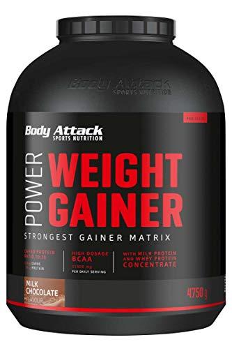 Body Attack Power Weight Gainer, 100% di massa massa in polvere di proteine di carboidrati per la costruzione muscolare con proteine del siero del latte (latte di cioccolato, 4,75 kg)