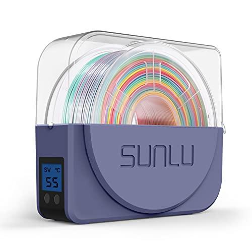 Aggiornato SUNLU Dryer Box per Filamento Stampante 3D Stoccaggio, Mantiene il Filamento Asciutto Durante Stampa 3D, Scatola Asciutta Compatibile con 1.75mm, 2.85mm, 3.00mm, Supporto Bobina, GrigioBlu