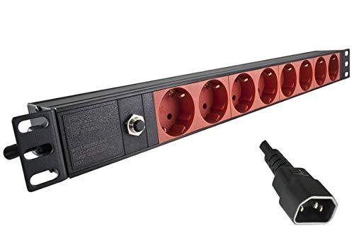 DINIC 19 Zoll Steckdosenleiste mit C14 Stecker, Aluminium, GS (8-Fach für USV-Anlagen)