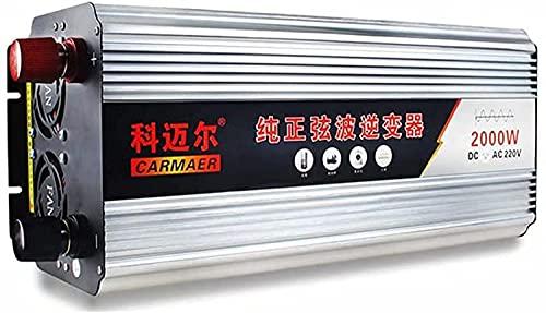 1000W Inversor de Corriente Coche Onda 12V 24V 220V 230V Convertidor de Corriente Transformador con AC Tomas ?para Automóviles 2000W Peak ?para Coche, Caravana, Barco, cámping (12V,2000W)