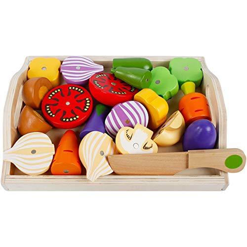 Cubiertos para niños Juguetes de cocina, Cubiertos magnéticos para niños Juguetes de cocina Cortes de madera para niñas Juego de casita de juegos de combinación de frutas y verduras (multicolor)