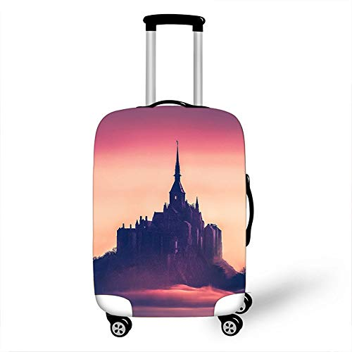 Elastic Luggage Cover, CNNINHAO 3D Print Trolley Case Protective Travel Suitcase Anti Scratch Dustproof Resistant Case Trolley Skin Protector Elasticized Washable (Castle 2,M (22-24inch))