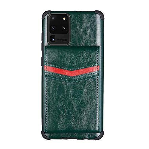 Galaxy S20 Ultra - Funda de piel para Samsung Galaxy S20 Ultra 5G 6.9' TPU Bumper Cover híbrido resistente a los impactos y a los golpes, suave PU con tarjetero (verde)